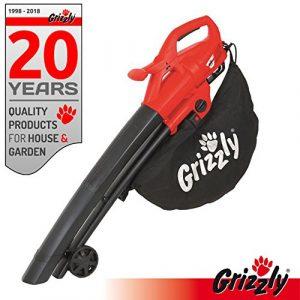 Grizzly Elektro 3in1 Laubsauger Laubbläser Häcksler, Leistung 2800 Watt, Blasgeschwindigkeit 270 km/h große Räder mit Fangsack und Tragegurt