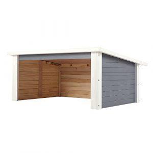 ZELSIUS Holzgarage für Rasenmäher Roboter, Garage aus Holz für Mähroboter, Rasenmäherrobotergarage, Mährobotergarage, Carport für Rasenroboter (grau)