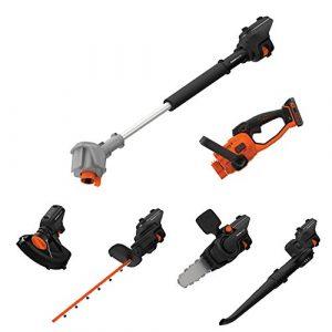 Black & Decker SeasonMaster 7-in-1 Akku-Gartengeräte Multifunktions-Set (18V, bestehend aus Heckenschere, Kettensägen-, Gebläse-und Rasentrimmer-Aufsatz plus Verlängerungsstab)