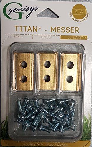30 TITAN Ersatz-Messer -Klingen & Schrauben für die Landroid® Mähroboter von Worx TOP Qualität