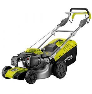 Rasenmäher / Benzin-Rasenmäher RLM46175S | Grasfangen, Heckauswurf, Seitenauswurf oder Mulchen, zentrale Schnitthöhenverstellung | 175 cm³ Subaru OHC Motor, 55 l Grasfangsack