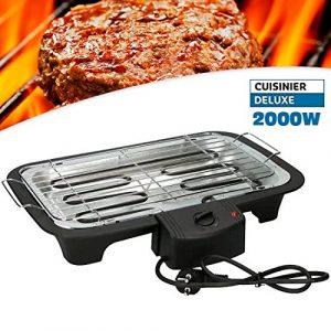 Cuisinier Deluxe Elektro-Grill Grill mit Tisch 2000W Elektro kariert Partei mit Thermostat