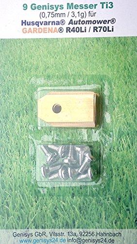 !Titan! 9 Genisys® Messer (Ti3=0,75mm) und Schrauben für Husqvarna Automower®, Gardena R40Li / R70Li