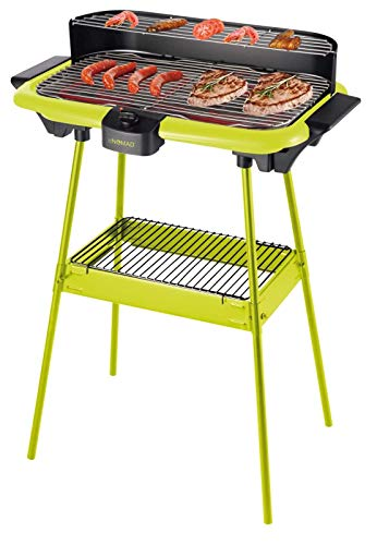 2in1 Standgrill und Tischgrill mit Ablegefläche (Elektro-Grill, 2000 Watt, Grillrost, Höhe ca. 70 cm, BBQ, Fettauffangschale, grün)
