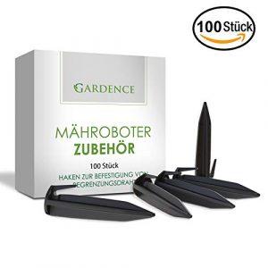 GARDENCE Premium Mähroboter Haken Zubehör [100er Set] für Gardena Worx Landroid & Co – Garten Heringe und Erdnägel zur Befestigung von Begrenzungskabel – Begrenzungsdraht