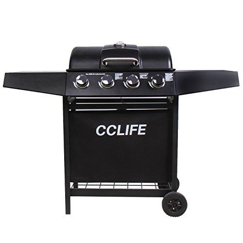 CCLIFE Gasgrill Grillwagen Gas Grill Barbecue Toronto Grill 3/4/5/6 Brenner mit Zubehör TÜV geprüft, Farbe:Schwarz, Größe:4 Brenner