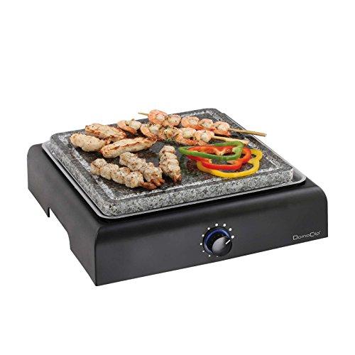 Elektrogrill mit Granitplatte Tischgrill Grillplatte Steingrill (Grillfläche 25 cm, Heißer Stein, Thermostat, Elektrischer Grill)