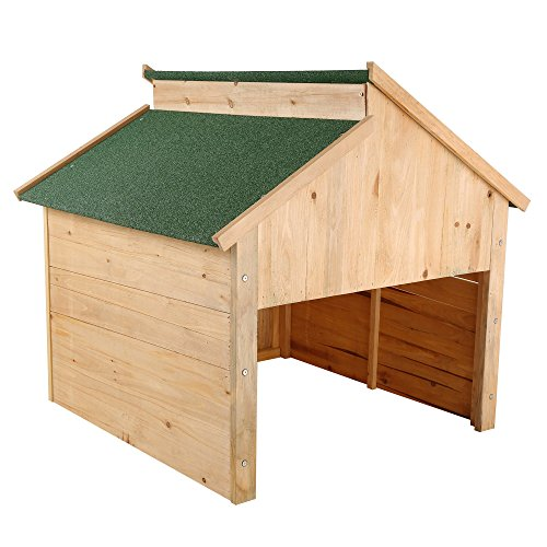 ZELSIUS Holzgarage für Rasenmäher Roboter, Mähroboter Garage, Carport, grün