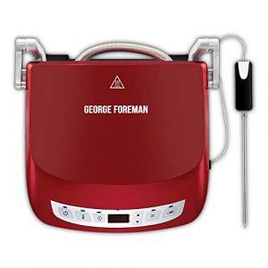 George Foreman 24001-56 Fitnessgrill Präzisions, intelligenter Kerntemperatursensor, 5 verschiedene Modi, Kontaktgrill, Panini- und Sandwichgrill, 29 x 19 cm Grillfläche, rot