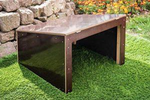 Mähroboter – Garage – Überdachung für Rasenroboter aus stillvoll dunklem Holz – 69 x 69 x 45 cm – fertig montiert – witterungsfest