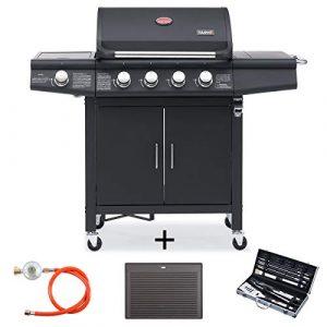 TAINO RED 4+1 Modell 2019 Gasgrill inkl. Grillbesteck Set Gasregler Grillplatte Grillwagen BBQ Edelstahl-Brenner Gas-Grill schwarz für Garten