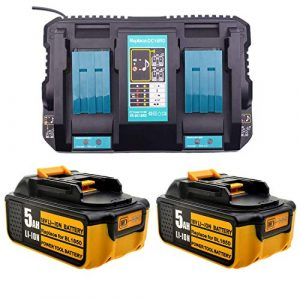 Ersatz 4A 2-fach Dual Schnellladegerät mit 2X 5.0Ah 18V akku für Makita Kettensäge 18Volt DUC353Z UC4041A DUC 254 Z DUC355Z UC3041A UC4551A Kettensägenzubehör batterie und ladegerät