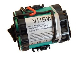 vhbw Akku passend für Gardena R38Li, R40Li, R45Li, R50Li, R70Li, R75Li, R80Li, 124562 Mähroboter Rasenroboter – (Li-Ion, 1500mAh, 18V) Batterie
