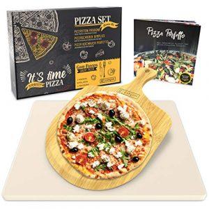 Garcon Pizzastein für Backofen und Gasgrill zum Pizza Backen – 3er Set inkl. Pizza Stone, Pizzaschieber, Kochbuch in Geschenk Box