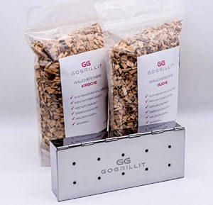 GOGRILLIT Räucherbox/Räucherschale – Premium Smoker-Box aus rostfreiem Edelstahl – das perfekte Grillzubehör zum Räuchern – für jeden Holzkohle- und Gasgrill geeignet (Metall, Set mit Räucherholz)