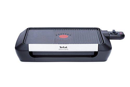 Tefal CB6718 Tischgrill Silvermania mit 900 cm² Grillfläche, 1600 W, schwarz/silber