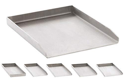 CLP Edelstahl Grillplatte für den Gasgrill, Kohlegrill und den Elektrogrill I Bratplatte mit glatter Oberfläche edelstahl, 30x40x3,6 cm