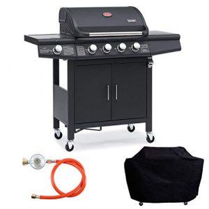 TAINO RED 4+1 Grillwagen BBQ Edelstahl-Brenner Gas-Grill schwarz inkl. Zubehör Abdeckplane Haube Gasregler Gasdruckminderer Schlauch Gasschlauch