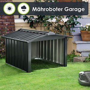 Juskys Metall Mähroboter Garage mit Satteldach – 86 × 98 × 63 cm – Sonnen- & Regenschutz für Rasenmäher – anthrazit – Rasenroboter Carport